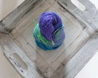 Sock yarn hand dyed colours 100 g cotton purple Green