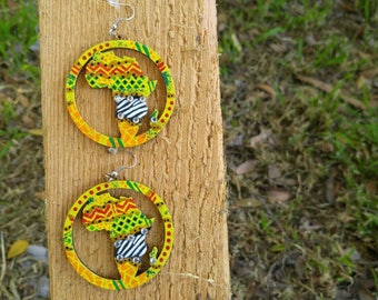 Abstract,Africa,Multicolor,Afrocentric,Handpainted,Wooden Earrings