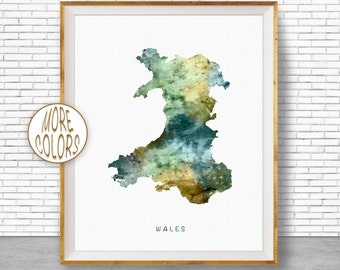 Wales Map Art, Wales Print, Watercolor Map, Map Painting, Map Artwork, Country Art, Office Decorations, Country Map Art Print Zone