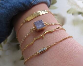 Lilac druzy gold bracelet