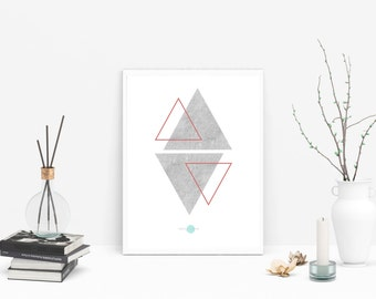 Concrete-Triangles triangles Wall Art-Concrete Wall Art-Geometric Art Prints-Geometric Wall Art-Abstract Geometric - Minimalist Geometric
