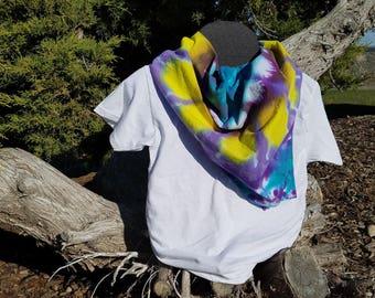 "Tie-dyed Bandana / Mandala / X-Large 27"" / Yellow, Purple, and Teal Flower/ Shibori / Hippie"