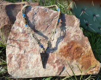 Aztec Inspired Hemp Macrame Necklace