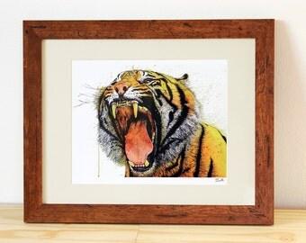 Tiger Roar PRINT - Acrylic Painting Print, Animal Art Print