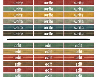 """Author Planner Stickers - Word Sheet """"Writes and Edits"""""""