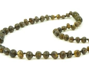 Amber Teething Necklace, 28-36 cm (11-14 in), Hand-made from Baroque Style Dark Green Color Baltic amber Beads, Knotted, Screw Clasp, B023