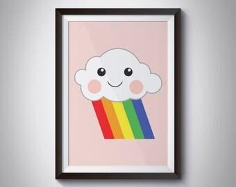Rainbow Cloud - Weather Print - Wall Art - Nursery - Bedroom