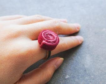 Handmade Red Felt Wooden Ring
