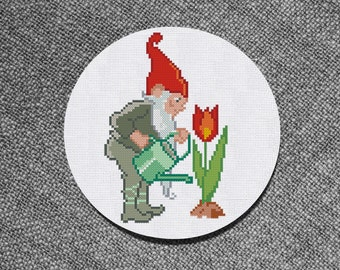 Buy 2 get 1 Free Cross Stitch Pattern Gnome with Flower PDF Instant Download Counted Chart
