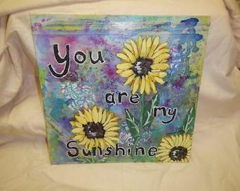 you are my sunshine,mixed media, folk art, contemporary, art,free shipping, original painting,