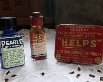 Set of 3 Mini Bottles, Tin, Vintage Medicine Containers