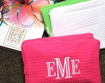 Monogrammed Cosmetic Bag / Large Cosmetic Bag / Monogrammed Make-Up Bag / Waffle Weave Bag / Bridesmaid Gift / Bridal Party Gift
