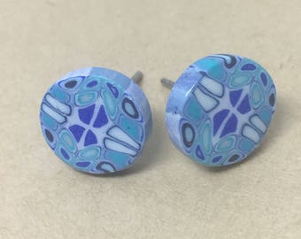 Blue studs, polymer clay, earrings, circle, Jewellery.