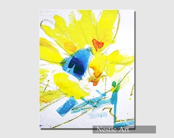 Yellow flower, watercolors, brushes, spring, abstract art, bright color, Home, download art, printable, gift art, contemporary