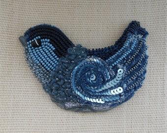 Jeans Bird Beaded Brooch Blue Bird, Bead Embroidery Brooch, Bead Jewelry, Wearable Art, Beadwork, Beaded Bird