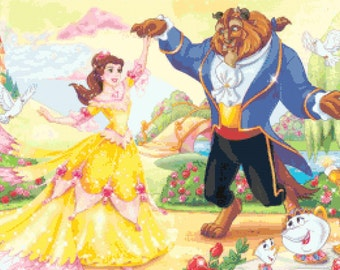 beauty and the beast pattern, counted cross stitch, cross stitch pattern, pdf file, 331W x 207H - P1289m