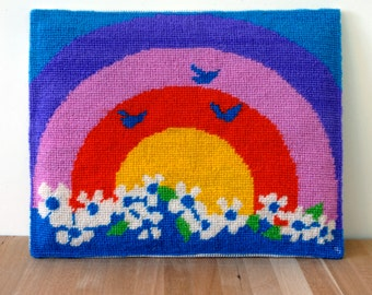 Bright Retro Rainbow Cross-stitch with flowers and birds