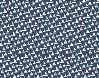 Navy Sailboat By the Sea Riley Blake Fabric by the Yard