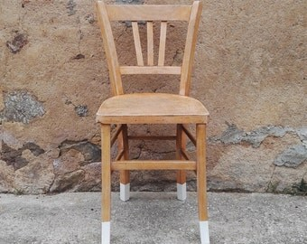 Kathie - Polished natural wood and base Bistro Chair painted white