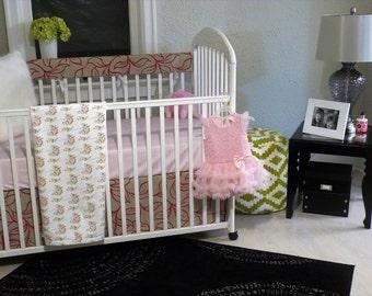 Pink Princess Crib Bedding/ Pink Baby Bedding/Pink Girls Bedding/Floral Baby Bedding/Hot Pink Baby Bedding/Pink Velvet Crib Bedding