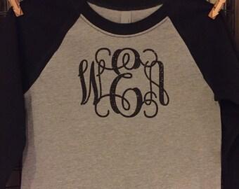 Women Teens and Girl's Vine Monogram Baseball T shirt Raglan