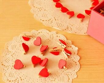 Mini Heart Clothespins - 20 pieces