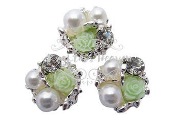 Mint Pearl Rhinestone~Pearls~Wedding Brooch Bouquet~Crystal Flowers~Crystals~Jewelry Supplies~DIY Supplies~DIY Headbands~Craft Supplies~