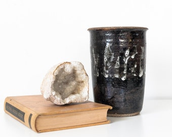 Black Studio Pottery Statement Vase / Utensil Holder