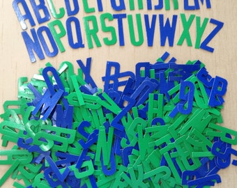 Vintage Sign Maker's Letters | Collage Letters | Scrapbook Letters | Mixed Media Alphabet | Cardboard Letters - Large Lot Blue and Green