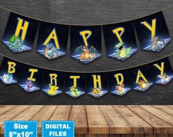 Pokemon go banner, pokemon birthday banner, pokemon instant download, pokemon party supplies, pokemon birthday party, pokemon printable
