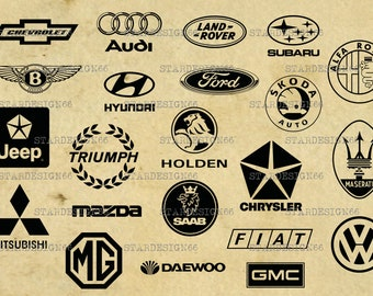 Digital SVG PNG JPG Car Logotypes, vector, clipart, silhouette, instant download