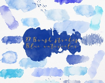 3 FOR 8 Blue Watercolor Brush Strokes, Blue Watercolor Clipart, Blush Splash clipart, Brush Strokes, Acrylic Paint Clipart, Branding logo