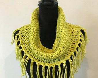 Fringed crochet cowl/lightweight spring/summer scarf