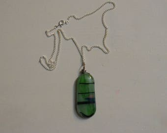 Oval mint green glass necklace