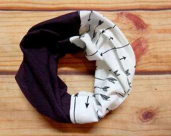 Infinity scarf two colors 6-36 months - arrows and eggplant