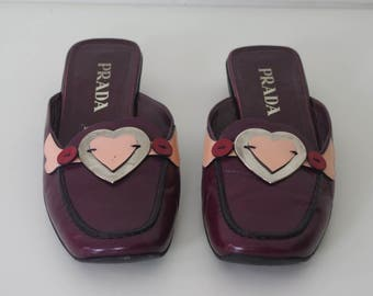 Prada Love Heart Slides/Mules Size 7.5 / 38 Made In Italy Burgundy Leather