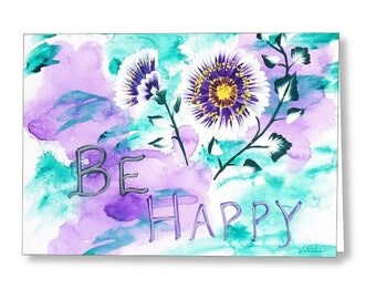 Be Happy Inspirational Card, Blank Note Cards, Fine Art Cards, Abstract Art Note Card Set Greeting Cards, Gift Cards, Stationary Cards