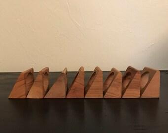 Vintage Teak Napkin Rings, Danish Modern, Wood Napkin Holders, Mid Century Napkin Rings