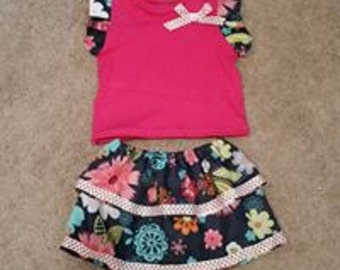 12-18 Mo Infant Floral Ruffle Top and Skirt