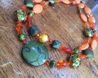 Orange Layered Necklace