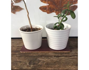 Plant Coaster - Pleather and Cork