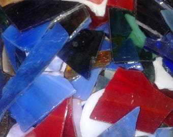 Opaque and some Opalescent Scrap Glass/Colored Stained Glass Scraps/Mosaic Pieces/Sun Catcher/Jewelry Making/Mosaics