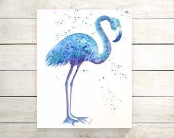 Original blue flamingo flamingo painting-painting-wall art-nursery art-bleu art-bird painting-original oiseau-zen watercolors