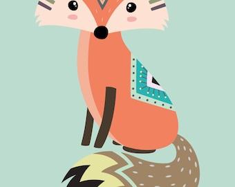 Tribal Fox Nursery Print, Fox Nursery Decor, Nursery prints, Printable Nursery Decor, Tribal Kids Prints, Kids Room, Fox Nursery Prints, Owl