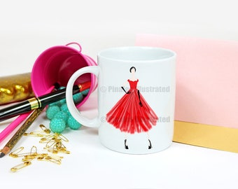 Vintage Girl, gifts for her, coffee mug, tea gifts, personalized gifts, special occasion, tea time, PinalesIllustrated