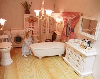 Dolls house miniature bathroom set 7pcs
