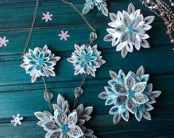 Blue Snowflake Kanzashi Set