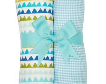 Monogrammed Turtle Burp Cloth Set