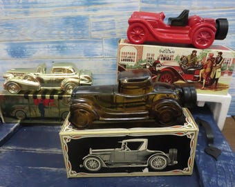 "Avon Decanters /Classic Cars (set of 3) ""Stutz Bearcat"", ""Sterling Six"", ""Solid Gold Cadillac"""