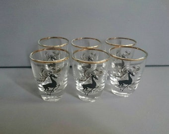 Six Vintage Shot Glasses Black Stag Design